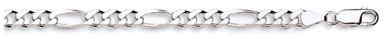 Silver bracelet High polish Sterling Silver 8.5 inch Mens 6mm by 1.8mm figaro, 9.8 grams.