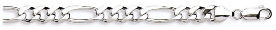Silver bracelet High polish Sterling Silver 7.5 inch Mens 7.5mm figaro, 15 grams.