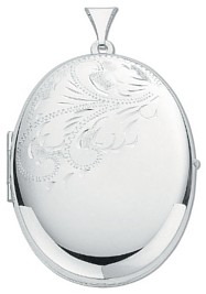 Silver pendant High polish Sterling Silver Oval half patterned locket