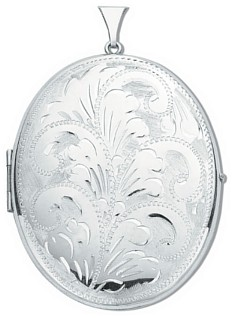 Silver pendant High polish Sterling Silver Oval patterned locket