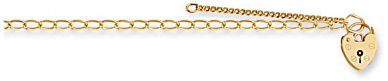 Gold bracelet High polish 9ct gold Charm carrier with safety chain 5 inch, 2.5 grams.
