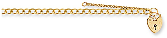Gold bracelet High polish 9ct gold Charm carrier with safety chain 5 inch, 3.8 grams.