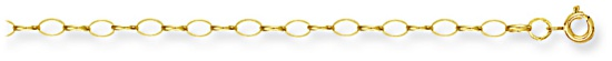 Gold chain 18 inch High polish 9ct gold 3.4mm belcher oval, 3.0 grams.