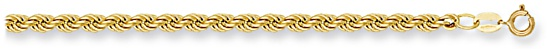 Gold chain 22 inch High polish 9ct gold 4.4mm rope hollow, 9.5 grams.