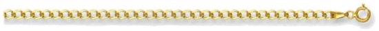 Gold chain 16 inch High polish 9ct gold 2.75mm x 0.6mm curb economy, 3.0 grams.