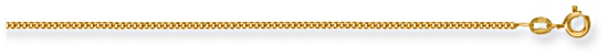 Gold chain 20 inch High polish 9ct gold 1.5mm x 0.75mm curb classic, 3.5 grams.