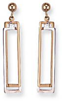 Gold drop earrings High polish 9ct gold Two rectangles bicolor 37mm height, 1.8 grams.