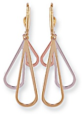 Gold drop earrings High polish 9ct gold Triple tear tricolor 43mm h, 2.0 grams.
