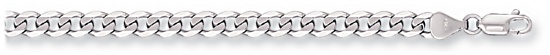 Gold chain High polish 9ct white gold 22 inch Mens 5.4mm by 1.4mm curb, 25.1 grams.