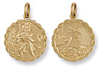 Gold pendant High polish 9ct gold St Christopher dble sided bubble edge medium, 3.9 grams.