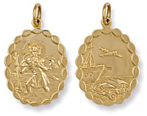 Gold pendant High polish 9ct gold St Christopher dble sided bubble edge medium oval, 4.8 grams.