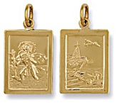 Gold pendant High polish 9ct gold St Christopher dble sided rectangle, 3.8 grams.
